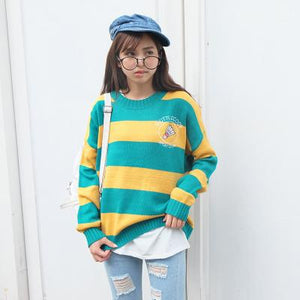 Harajuku Korean Women Candy Color Stripe Cartoon Embroidery Loose Sweater Female Kawaii Cute Retro Knitted Jumper-rodewe