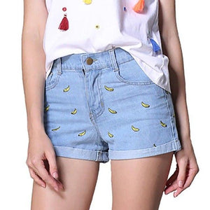 Tengo 2017 Spring summer women shorts with bananas Women's denim shorts female high waist shorts casual short pants Jeans woman-rodewe