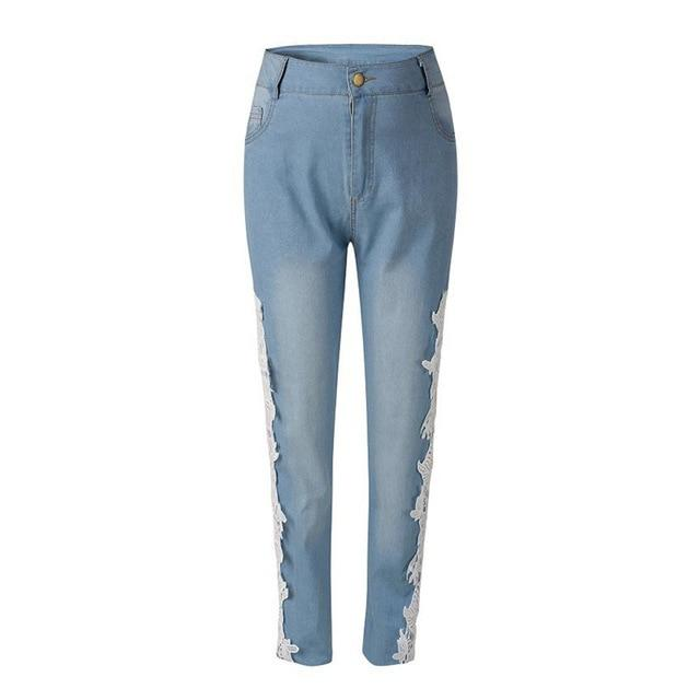Sexy Women's low waist Lace washed Denim Jeans Hollow out Crochet jeans pencil Pants for women FS0030-rodewe