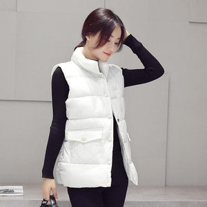 New 2017 autumn and winter women cotton vest white duck down soft warm waistcoat plus size 3XL female outwear brand vest coat-rodewe