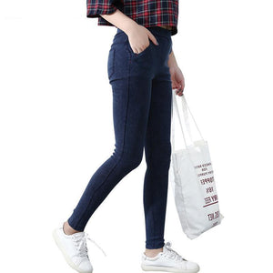 BIVIGAOS Women's Slanting Pocket Washed Jeans Leggings Pencil Pants Elastic Denim Leggings Skinny Jeans Jeggings Women Trousers-rodewe