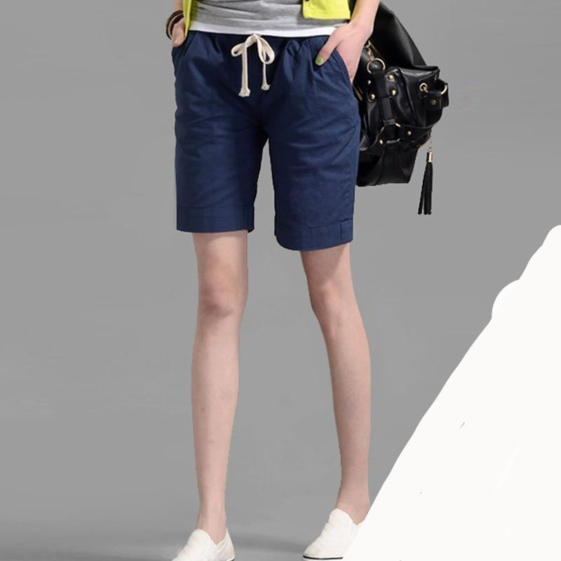 Youth Casual Women Hot Short Feminina Fashion Candy Color Casual Shorts Elastic Waist Women's Linen Collapse Shorts-rodewe