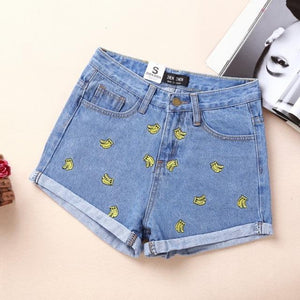 Summer High Waist Denim Shorts Women Banana Embroidery Casual Cotton Short Jeans Shorts For Women's Cloth Female Large size-rodewe
