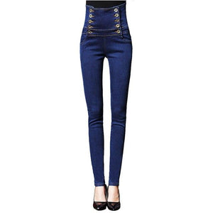 VooBuyla 2017 Brand New High Waist Jeans Women Skinny Denim Pencil Pants Female Plus Size Vintage Elastic Jeans Woman Jeans 6XL-rodewe