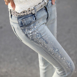 New 2017 Women Fashion Diamond Jeans Casual Denim Pants Woman Skinny Trousers Elastic Pencil Pants lager Size Women jeans-rodewe