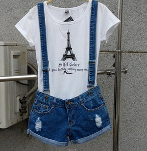 New 2017 Strap shorts jeans overalls lager size loose casual denim shorts suspenders Jumpsuits Rompers women blue hole S-XXL Bob-rodewe