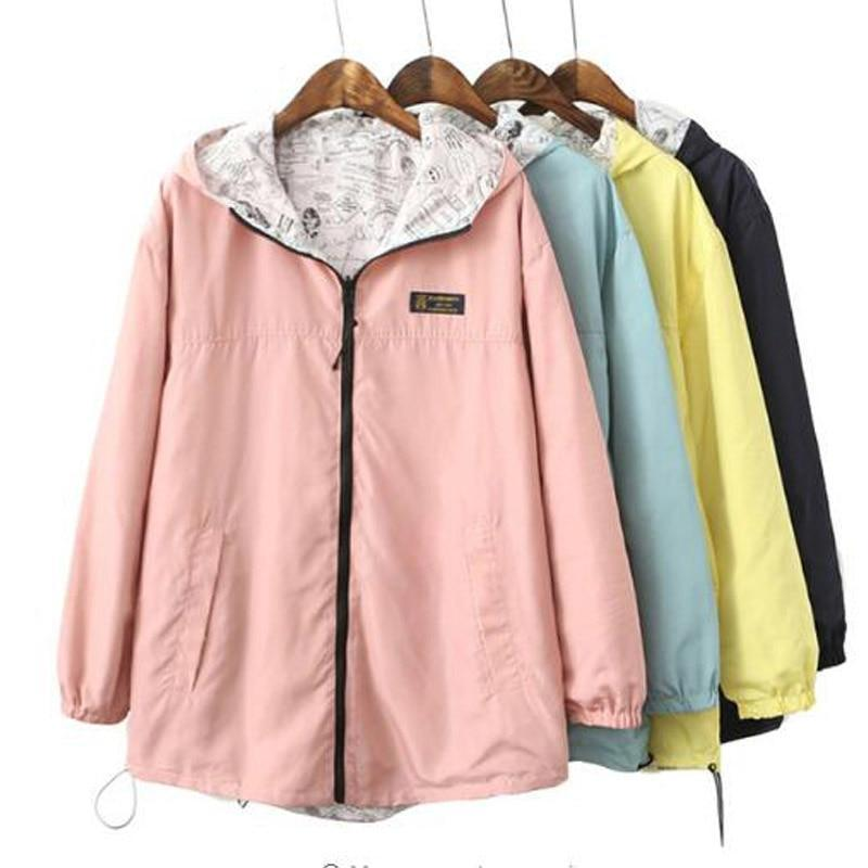 Spring Bomber Jacket Women Zipper Hooded Long Coats Two Side Can Wear Cartoon Print Outwear Casual Loose Pockets Tops SY067-rodewe