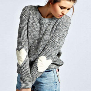 Autumn Winter Women Sweaters Heart Pattern Long Sleeve O-Neck Lovely Pullovers Knitted Loose Tops 2016-rodewe