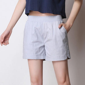 8 Color Linen Shorts 2017 Women Summer High Waist Shorts Casual Loose Plus Size Side Split Pockets Womens Shorts Feminino S-4XL-rodewe