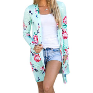 Summer Coat Woman Kimono Jacket Casual Floral Cardigans Jackets Long Sleeve Loose Coat Tops Tee Tunic Mujer Femme 2017 WS1105U-rodewe