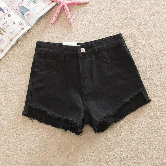 2017 Women's Fashion Brand Vintage Tassel Slim Fit Bore Hole Loose High Waisted Short Jeans Punk Sexy Hot Woman Denim Shorts-rodewe
