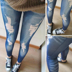 women's jeans Mid waist Trousers Look Skinny Jeggings Tights Pants Trousers Blue Ripped jeans for women 2017 hot sale Denim jea-rodewe