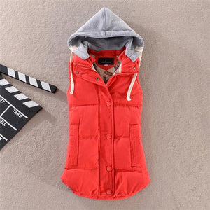 Pinky Is Black Autumn Winter Fashion Cotton Vest Women Patchwork Sleeveless Hooded Collar Casual Coat Colete Feminino Waistcoat-rodewe