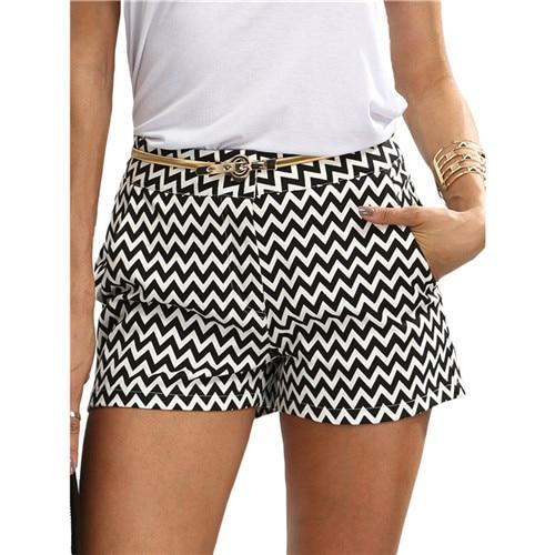 SHEIN Woman Shorts Summer New Arrival Black and White Mid Waist Button Fly  Casual Pocket Cotton 3779568152a
