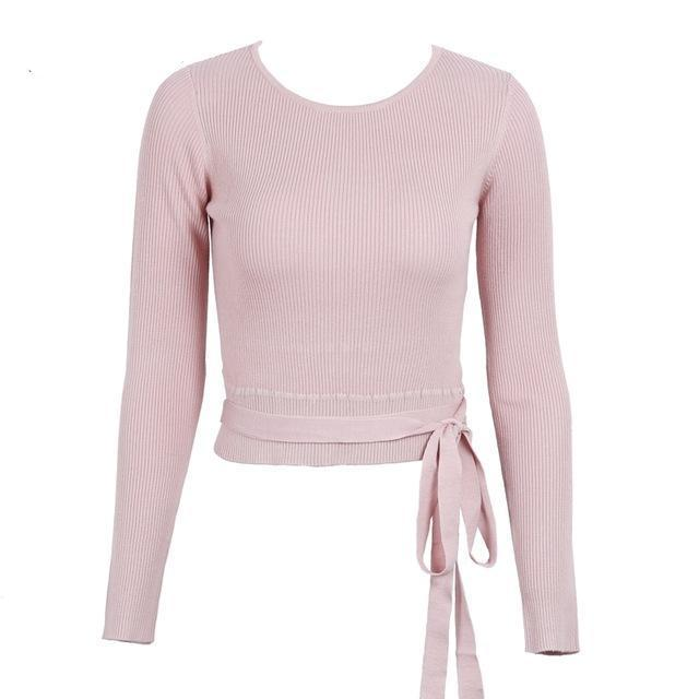 Simplee Casual tie up knitted sweater women Skinny slim knitting pull femme jumper Crop top winter sweater tricot pullover women-rodewe