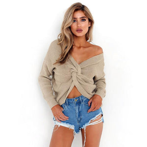 Winter autumn knitted cross sweater women 2017 Fall hollow out pullover sweater Sexy long sleeve off shoulder sweater jumpers-rodewe
