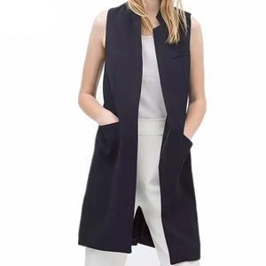 New stylish spring/summer blazer vest coat women stand collar long suit vest black white dark blue with two pockets outwears-rodewe
