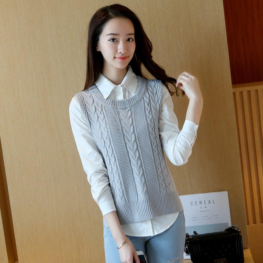 Casual new fashion women autumn spring sleeveless knitted vest sweater female loose pullover o-neck top girls Student style-rodewe