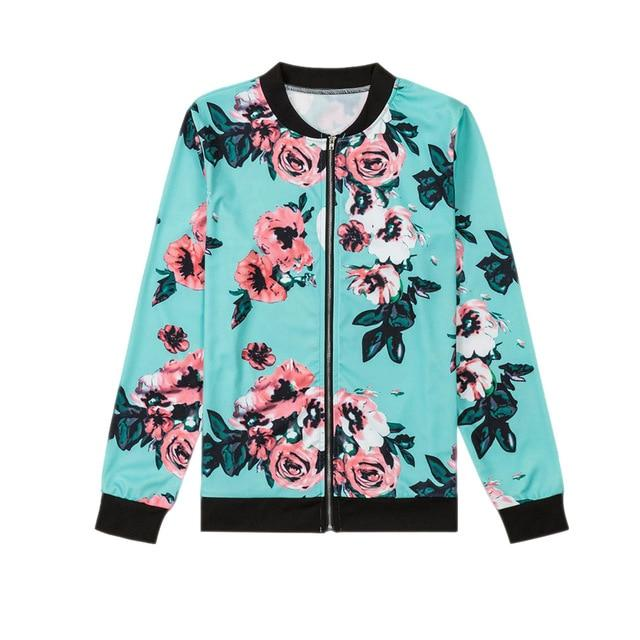 Fashion Spring Autumn Women Jacket Long Sleeve Zipped Vintage Flowers Printed Outwear Ladies Girls Casual Coat H9-rodewe