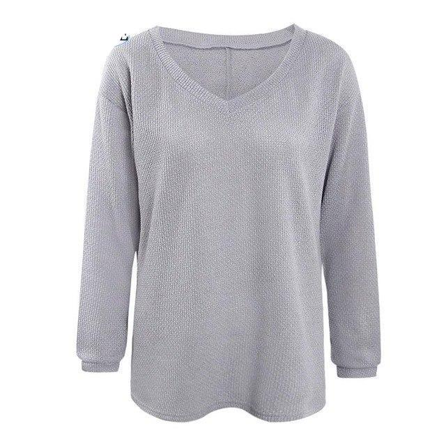 Autumn Winter Women Sweater Pullover 2017 New V-neck Loose Sweater Knitted Long Sleeve Pullover Casual Pink Sweaters Jumper Tops-rodewe