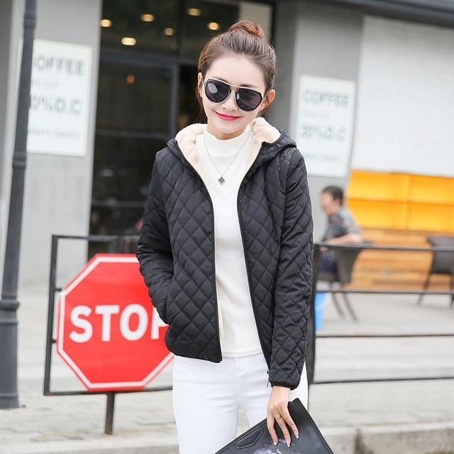 women winter jacket hooded fleece solid coat 2017 Autumn spring thin outerwear female short zipper student jaqueta feminina-rodewe