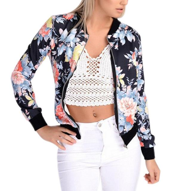 Fashion Women Jacket Long Sleeve Zipped Colorful Flowers Printed Outwear Autumn Winter Ladies Girls Casual Coat H9-rodewe
