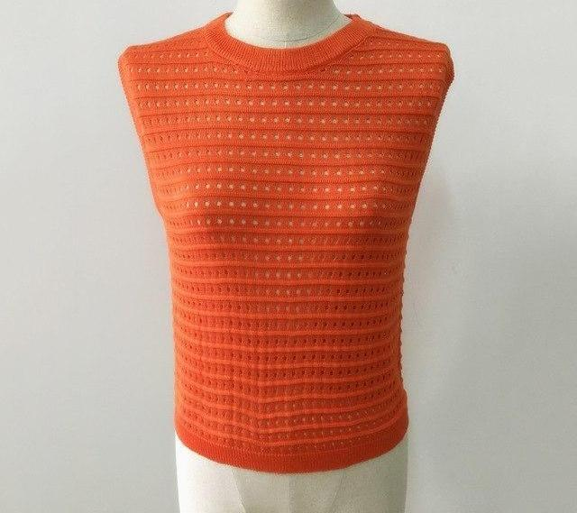 GCAROL New Arrival Knitted Crop Tops Hollow Out Sleeveless Sweater Orange Sapphire Knitting Pullover For Spring Autumn Winter-rodewe