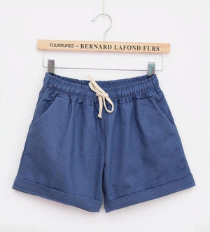 Danjeaner 2017 Summer Casual Loose Cotton High Waist Shorts Youth Solid Slim Drawstring Elastic Waist Shorts Women Shorts Mujer-rodewe
