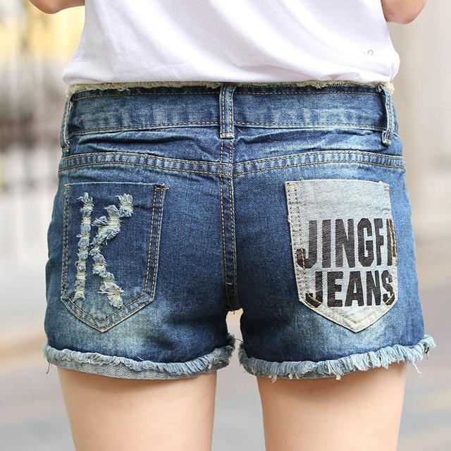 6 EXTRA LARGE Jeans Women Summer New Light Color Crimping Korean Version Denim Shorts High Quality Hole denim Shorts-rodewe