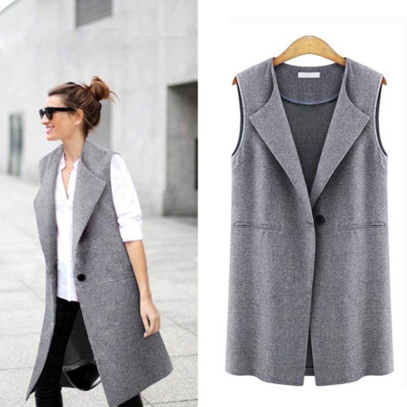 Casual sleeveless blazer vest woman ladies femme female summer black gray plus size oversized big quilted long suit vests jacket-rodewe