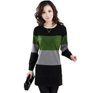 Mother Clothing 2017 New Autumn Winter Women Sweater Pullover Loose Stripe Knitted Wool Basic Shirt Sweater Plus size 5XL OKXGNZ-rodewe