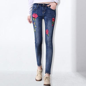 Stretch Embroidered Jeans For Women Elastic Flower Jeans Female Pencil Denim Pants Rose Pattern Pantalon Femme GAREMAY 155-rodewe