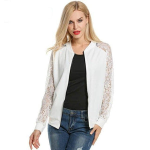 ANGVNS Ladies Bomber Jackets Autumn Winter Lace Patchwork Raglan Long Sleeve Zip-Up Short Slim Casual Women Basic Coat Outwears-rodewe