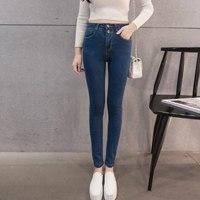 Autumn Women High Waist Jeans Casual Denim Skinny Warm Jeans Pencil Pants casual skinny denim pants slim female trousers-rodewe