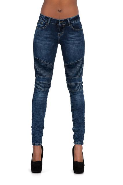 Slim Elasticity Skinny Jeans Women Pleated Vintage Cotton Deep Blue Pantalon Mujer Snow Wash Push Up Roupas Feminina Locomotive-rodewe