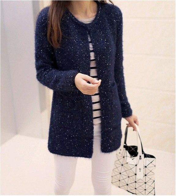 2017 New Fashion Spring Autumn Winter Sweater Women Long Sleeve O-Neck Pockets Knitted Cardigans Solid Color Women Sweaters-rodewe