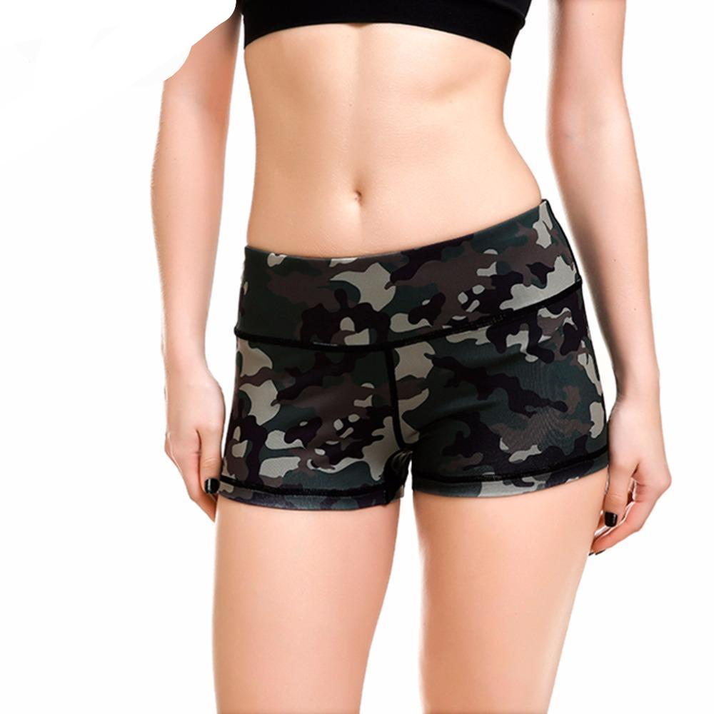 Qickitout Shorts New Esportes Fast Drying Women Shorts Casual Anti Emptied Contrast Elastic Waist Army Green Camouflage Short-rodewe