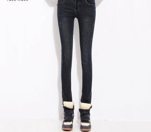 YuooMuoo Women Full Length Long Elastic High Waist Jeans Vintage Skinny Stretch Pencil Pants 3 Button Fly Denim Trousers-rodewe