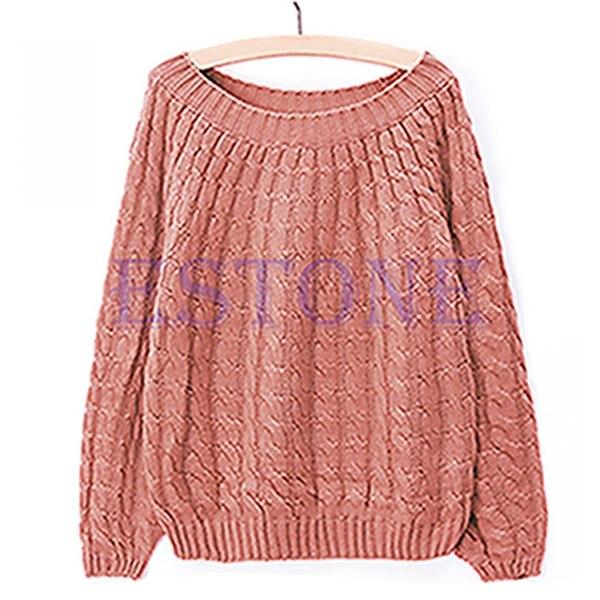 2017 Winter Warm Women Female Long Sleeve Knitted Sweater Pullover Jumper Loose Casual Knitwear Tops Solid Girl Lady Autumn New-rodewe