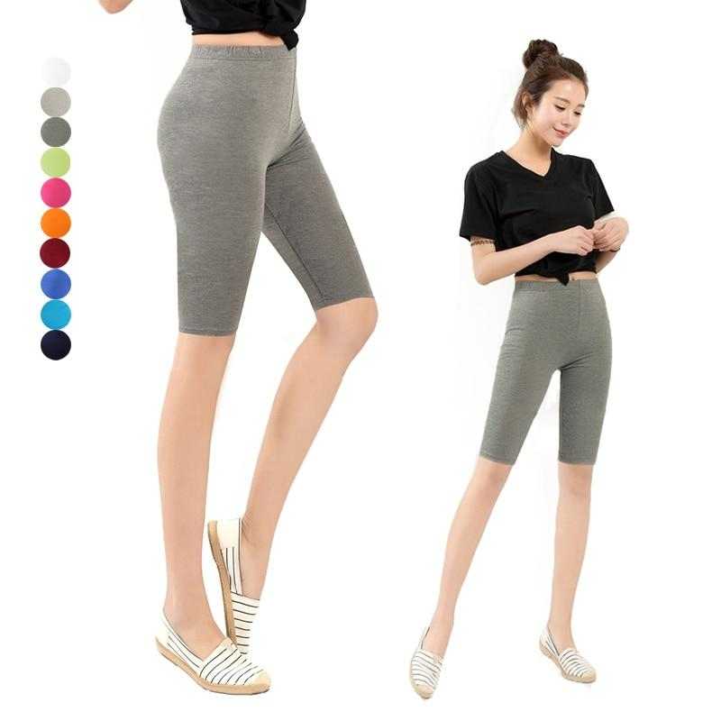 Women Knee Length Elastic Solid Color Ladies Casual Trousers Fitness Plus Size 3-5XL -MX8-rodewe
