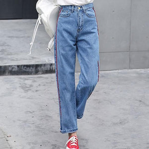 EXOTAO Side Striped Design Jeans for Women High Waist Denim Pants Female Ankle-Length Vaqueros Pantalones Vintage Jeans 2017-rodewe