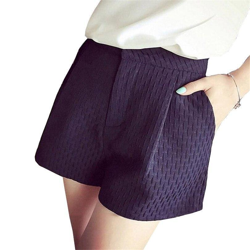 CUHAKCI Plaid Shorts Summer Candy Simple Collocation High Waist Women Shorts Loose Fashion Design Plus Size Mixed Polyester-rodewe