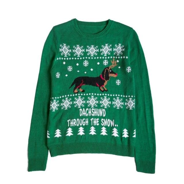 Autumn Winter Christmas Sweater Cute Dachshund Embroidery Snow Letter Women Pullovers Long Sleeve Knitting Outwear Tricot C79311-rodewe