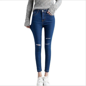 Women Jeans Hole Ripped On Knee Slim Woman Jeans For Girls Stretch High Waist Skinny Jeans Female Pants Ladies Trousers WICCON-rodewe