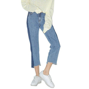 EXOTAO Contrast Asymmetric Frayed Hem Women Crop Jeans Fall Winter 2017 New Fashion High Waist Women Jeans Stylish Jeans Femme-rodewe