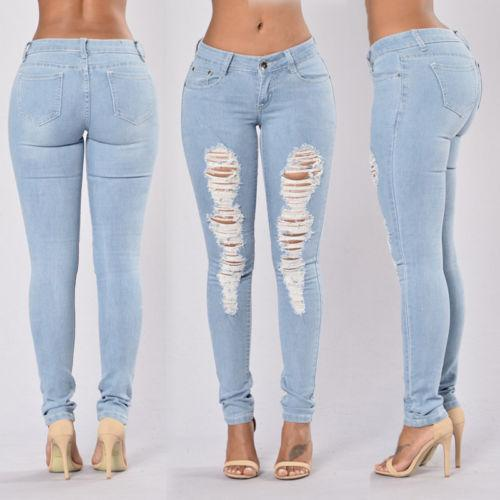 Women Destroyed Ripped Distressed Slim Blue Denim Pants Jeans Trousers-rodewe