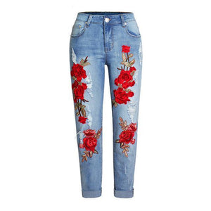 MCCKLE High Waist Ripped Knee Holes Denim Jeans Floral Embroidery Women's Stretchy Skinny Slim Pants Female Casual Pencil Jeans-rodewe