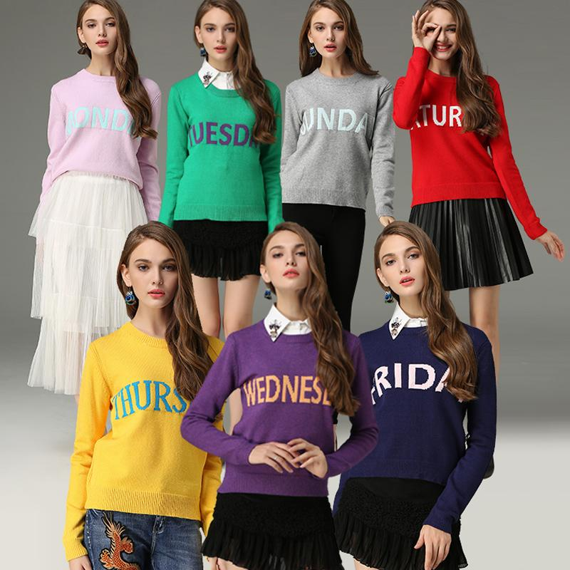 Hot sale Fashion Monday Sweater Women 2017 Sunday Letter Print Colorful Christmas Jumper Pullovers Autumn Winter Feminino-rodewe