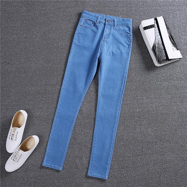 Plus Size Jeans Women Solid 4 Color Elasticity Jeans Female Casual Trousers Pencil Pants Jeans Woman High Waist Jeans-rodewe