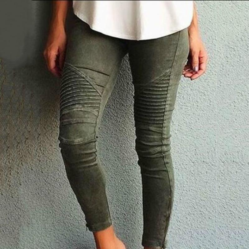 Europe America Moto Biker Jeans Women Cotton Washed Vintage Pleated Pencil Pants Femme Zipper High Elasticity Skinny Trousers-rodewe